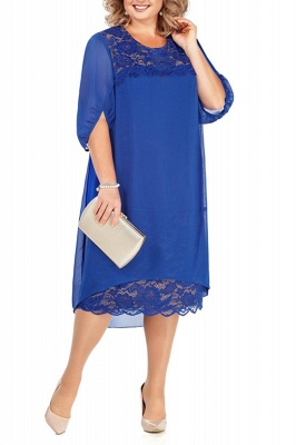 Lovely Half Bubble Sleeves Lace Tea Length Mother of Bride Dress_2