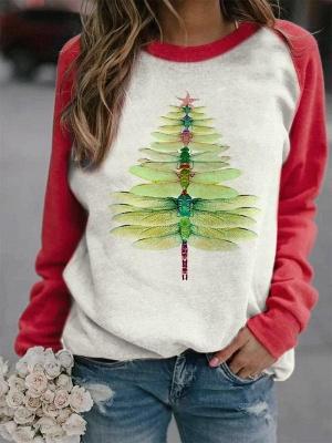 Dragonfly Christmas Tree Print Sweatshirt_1