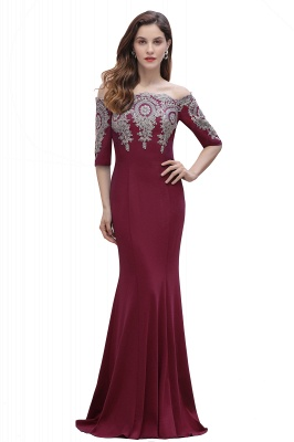 Mermaid Off-Shoulder Chiffon Lace Half Sleeve Evening Dress On Sale_1
