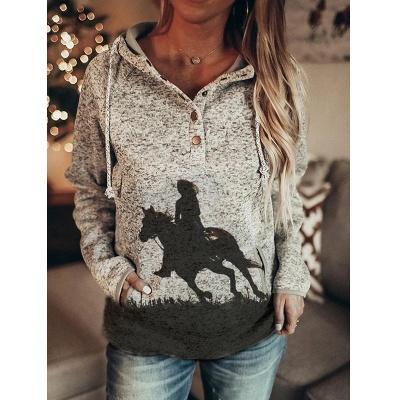 Women's Mama Bear Print Long Sleeve Top & Hoodie_2