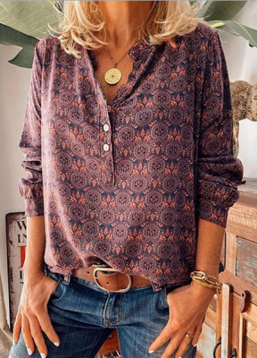 Ladies Vintage Printed Stand Collar Casual T-shirt_3