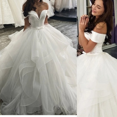 Cheap Off the Shoulder Satin White A Line Wedding Dresses_2