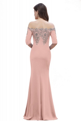 Mermaid Off-Shoulder Chiffon Lace Half Sleeve Evening Dress On Sale_20