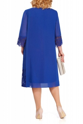 3/4 Sleeves Jewel Lace Knee Length Mother of Bride Dress_5
