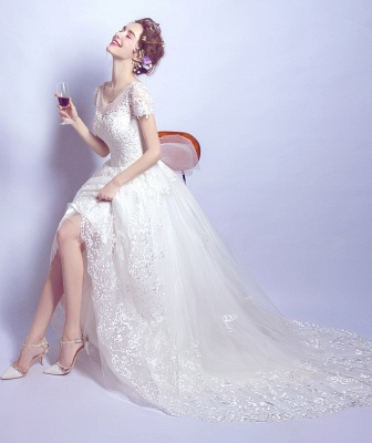 A-Line Tulle Lace Scoop Cap Sleeves Wedding Dress with Bowknot_4