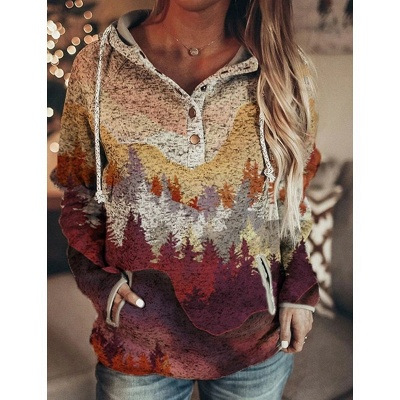 Women's Art Mountain Print Casual Pocket Hoodie & Sweatshirt