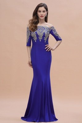 Mermaid Off-Shoulder Chiffon Lace Half Sleeve Evening Dress On Sale_5