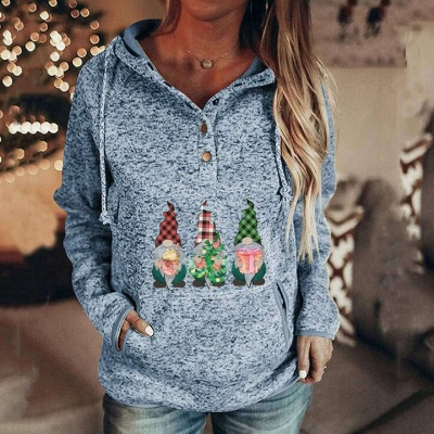 Women's Gnomes Printed Christmas Hooded_5
