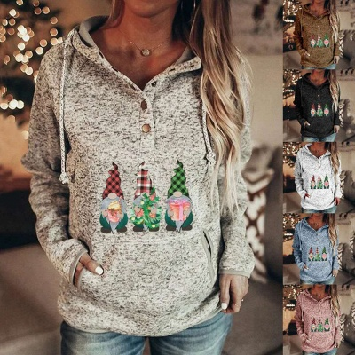 Women's Gnomes Printed Christmas Hooded_4