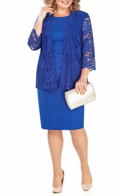 Sheath Jewel Knee Length Mother of Bride Dress with 3/4 Sleeves Lace Wrap_2