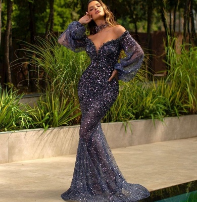 Luxury Mermaid Off Shoulder Tulle Lace Sequined Prom Dress with Bubble Sleeves_2