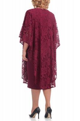 Half Sleeves Jewel Lace Knee Length Mother of Bride Dress_5