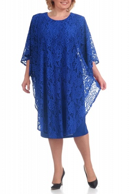 Half Sleeves Jewel Lace Knee Length Mother of Bride Dress_2