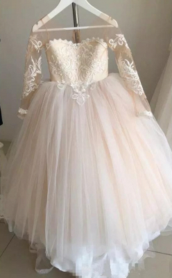 Princess Jewel Long Sleeves Sweep Train Lace Tulle Flower Girl Dresses with Bowknot_4