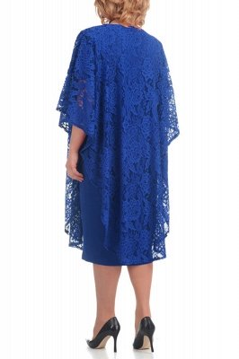 Half Sleeves Jewel Lace Knee Length Mother of Bride Dress On Sale_7
