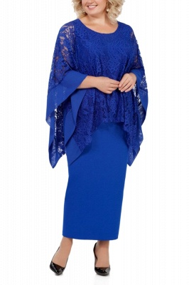 Long Sleeves Lace Jewel Ankle Length Mother of Bride Dress with Slit_2
