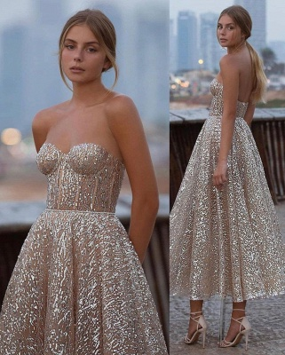 Shinny Sequined Strapless Sweetheart Prom Dress Tea Length without Sleeves On Sale_2