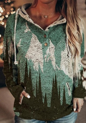 Women's Mountain Print Casual Sweatshirt