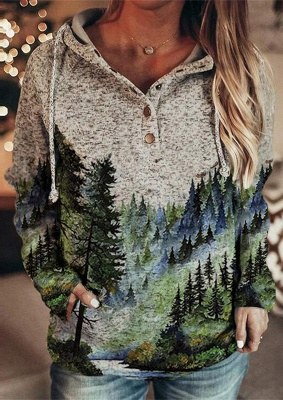 Women's Winter Mountain Print Casual Sweatshirt