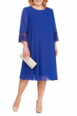 3/4 Sleeves Jewel Lace Knee Length Mother of Bride Dress_4