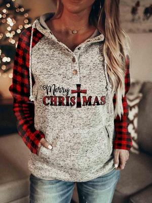 Women's Christmas Long Sleeves Print Hooded Sweatshirt_3