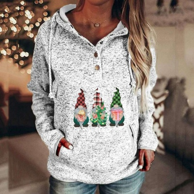 Women's Gnomes Printed Christmas Hooded_1