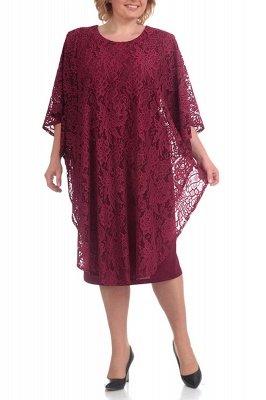 Half Sleeves Jewel Lace Knee Length Mother of Bride Dress On Sale_1