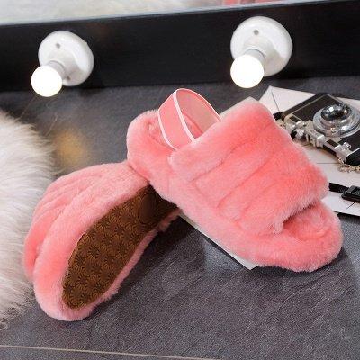 Cheap Ladies Flat Sandals Shoes Pink Fur Warm Shoes