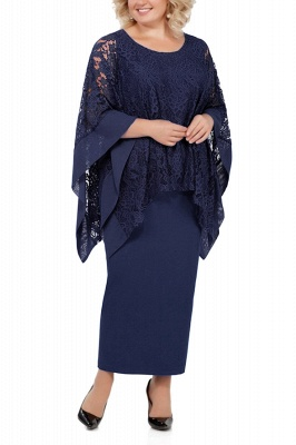 Long Sleeves Lace Jewel Ankle Length Mother of Bride Dress with Slit