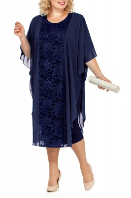 Lace Jewel Half Sleeves Mother of Bride Dress In Burgundy Royal Blue Dark Navy_3