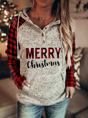 Women's Christmas Long Sleeves Print Hooded Sweatshirt_2
