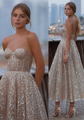 Shinny Sequined Strapless Sweetheart Prom Dress Tea Length without Sleeves On Sale