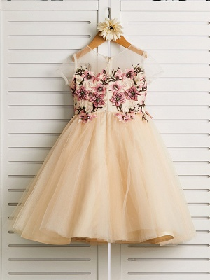 Cute Jewel Tulle Lace Satin Sleeveles Flower Girl Dress_2