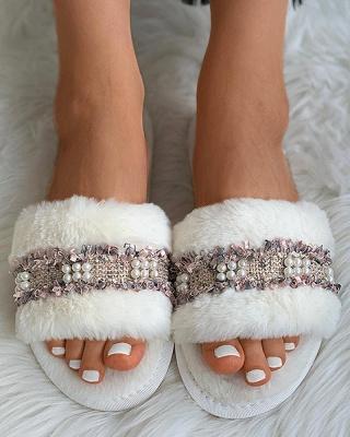 Fringe Beaded Fluffy Slippers_9