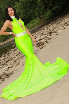 Halter Sleeveless Mermaid Evening Dress_1