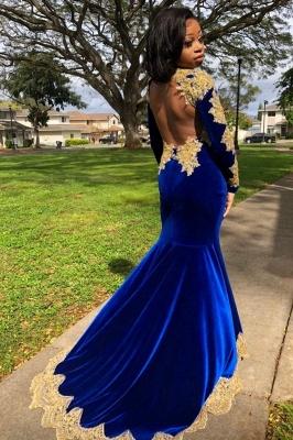 Gold Prom Dress Royal Blue Velvet Long Sleeve Mermaid Evening Gowns_2