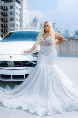 Glitter V-Neck affordable plus size prom dresses mermaid Evevning dress_3