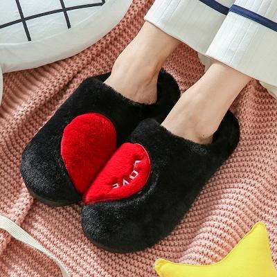 Heart Letter Pattern Fluffy Slippers_3