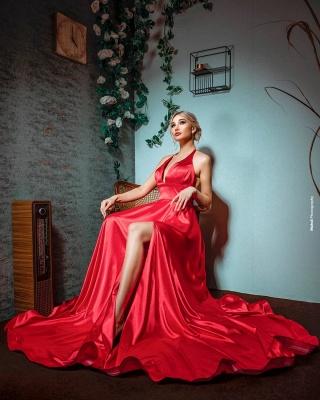Sexy Halter Sleeveless Silk-like Satin Ruffles Prom Dress with Slit_2