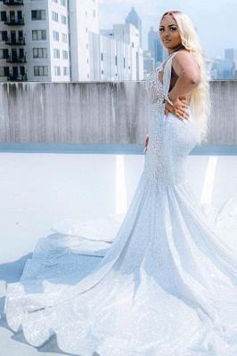 Glitter V-Neck affordable plus size prom dresses mermaid Evevning dress_4