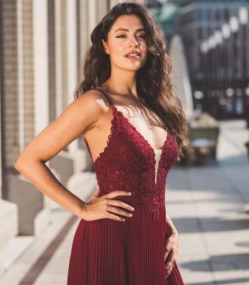 Modern Chiffon Lace Straps V-Neck Prom Dress with Ruffles_2