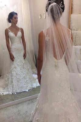 Modern Straps V-Neck Sleeveless Lace Wedding Dress with Beadings_2