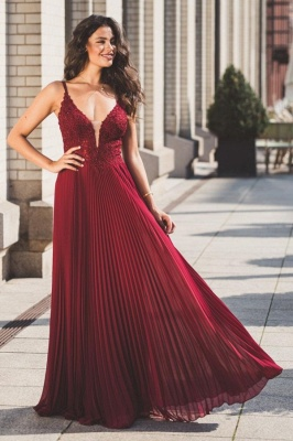 Modern Chiffon Lace Straps V-Neck Prom Dress with Ruffles_1