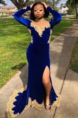 Gold Prom Dress Royal Blue Velvet Long Sleeve Mermaid Evening Gowns_1