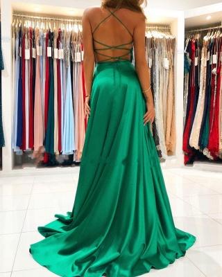 Cheap Green Prom Dresses Floor Length V Neck Dress with Split_2