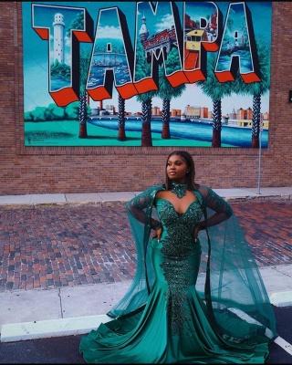 Glamorous Mermaid Prom Dresses Long Sleeve Floor Length Evening Gowns_5