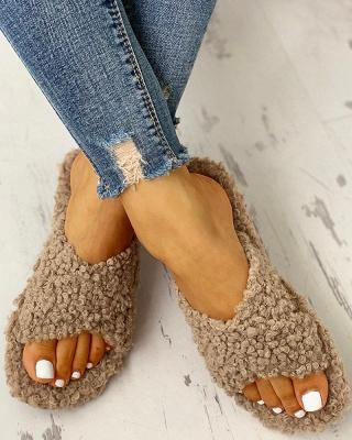 Solid Fluffy Crisscross Design Flat Sandals_19