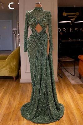Glitter Off the Shoulder Slim Mermaid Prom Dress Sleeveless Mermaid Evening Gowns_4