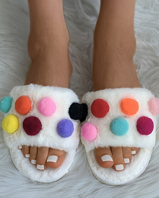 Pom Pom Colorblock Fluffy Slippers_10