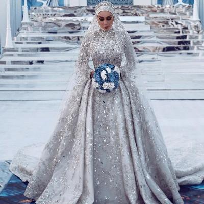 Luxury Sheath High-Neck Tulle Lace Wedding Dress with Beadings_2